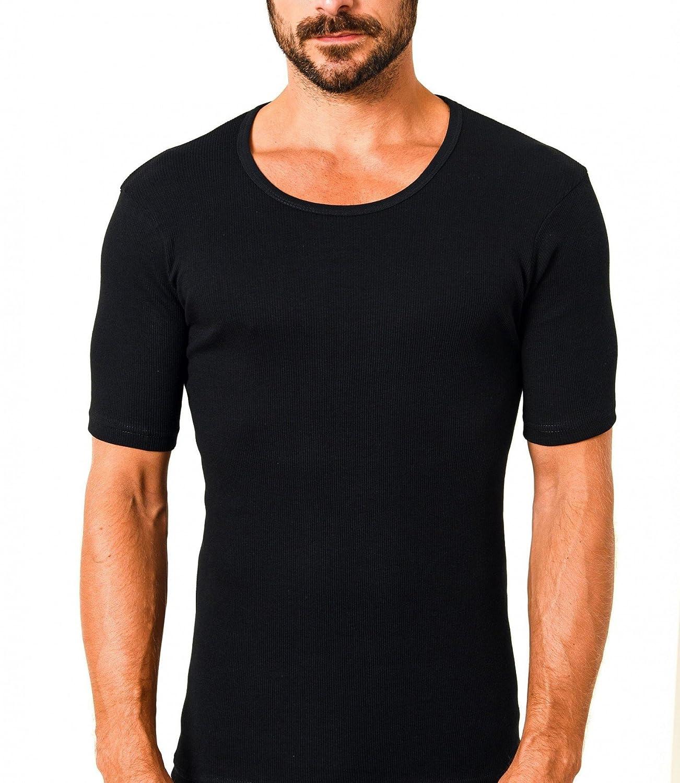 c50baac2b2 Trend by Normann Herren Unterhemd kurzarm 1/2-Arm Doppelripp 2erpack  schwarz 10427-A, Farbe:schwarz, Größe:8: Amazon.de: Bekleidung