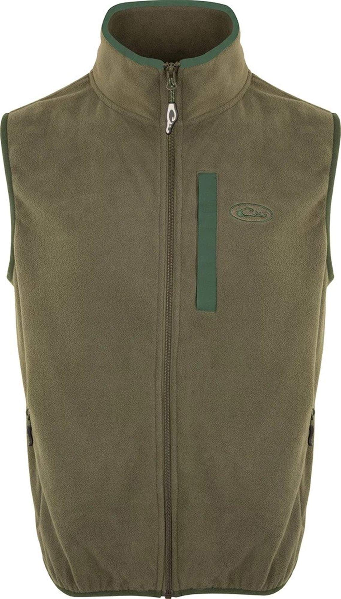 Drake Youth Camp Fleece Vest Olive/Dark Green 14 by Drake