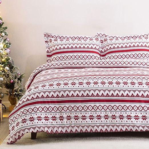 Santa Mail Merry Christmas Modern Printed Duvet Quilt Cover Bedding Set
