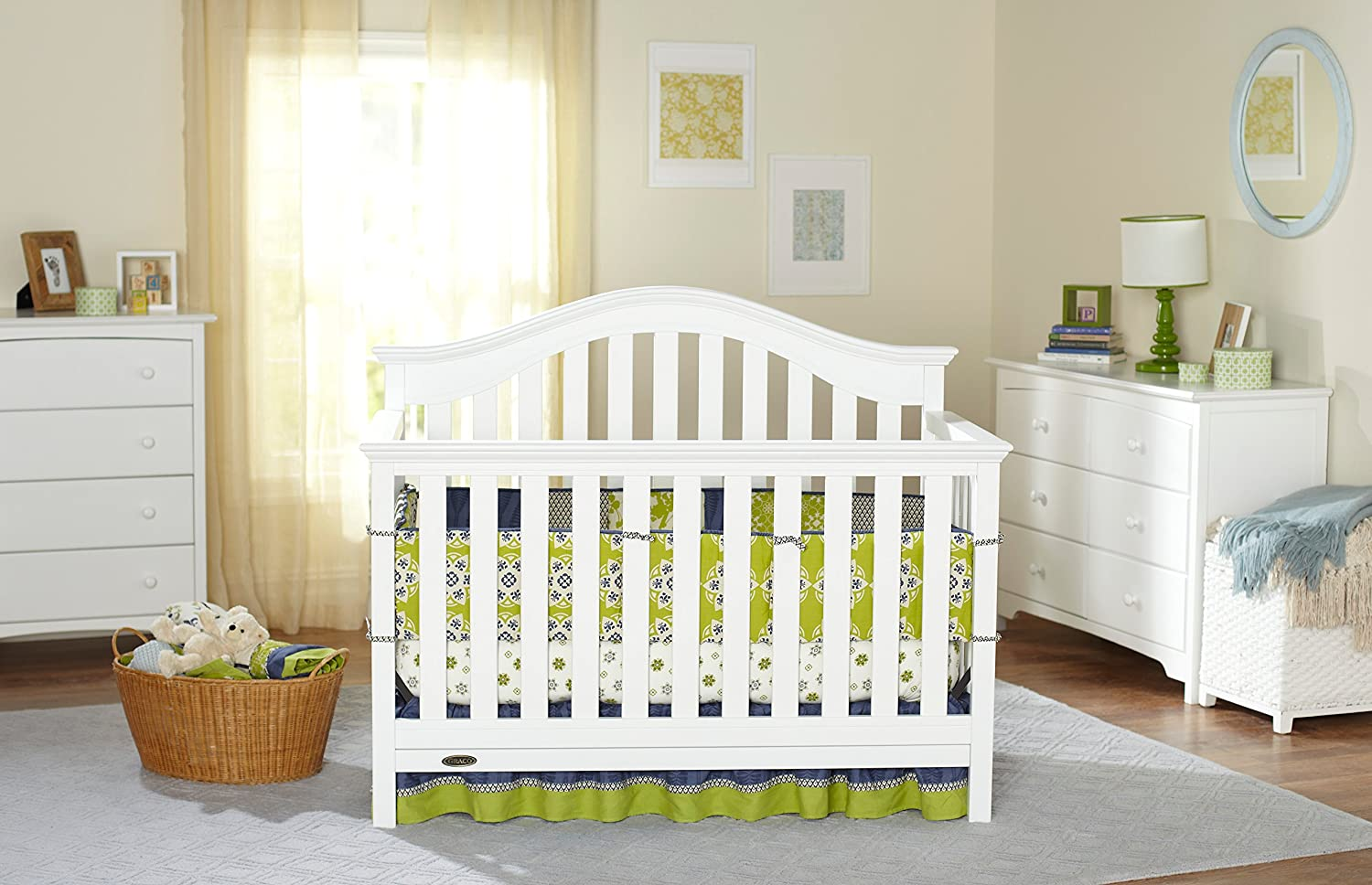 Graco Bryson 4-in-1 Convertible Crib, White, Easily Converts to Toddler Bed Day Bed or Full Bed, Three Position Adjustable Height Mattress, Some Assembly Required Mattress Not Included
