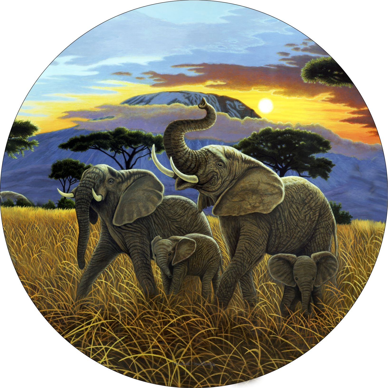 TIRE COVER CENTRAL Elephants Sunset on Kilimanjaro Spare Tire Cover for 215/75R15 fits Camper, Jeep, RV, Scamp, Trailer(Drop Down Size menu by TIRE COVER CENTRAL