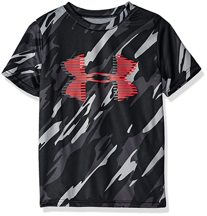 Under Armour Boys' Tech Big Logo Printed T-Shirt, Black (004)/Red, Youth X-Small