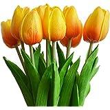 Turelifes, tulipani artificiali a stelo singolo, sembrano veri al tatto, in poliuretano, bouquet di tulipani per la decorazione della casa, 10 pezzi Orange