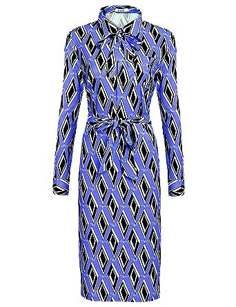 Finejo Damen Rockabilly 50er Vintage Retro Kleid Swing Kleider Langarm  Hemden Kleid Lang A-Linie 3f7c61214a