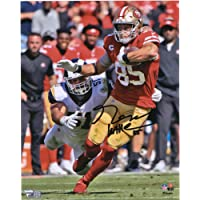 """George Kittle San Francisco 49ers Autographed 8"""" x 10"""" Scarlet Jersey Running Photograph… photo"""