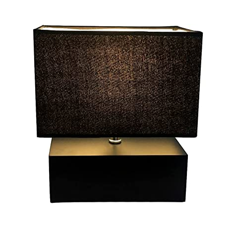 Wooden Table Lamp, Rectangle Wood Box Base Bedside Lamp With Velvet Shade,  Soft Light