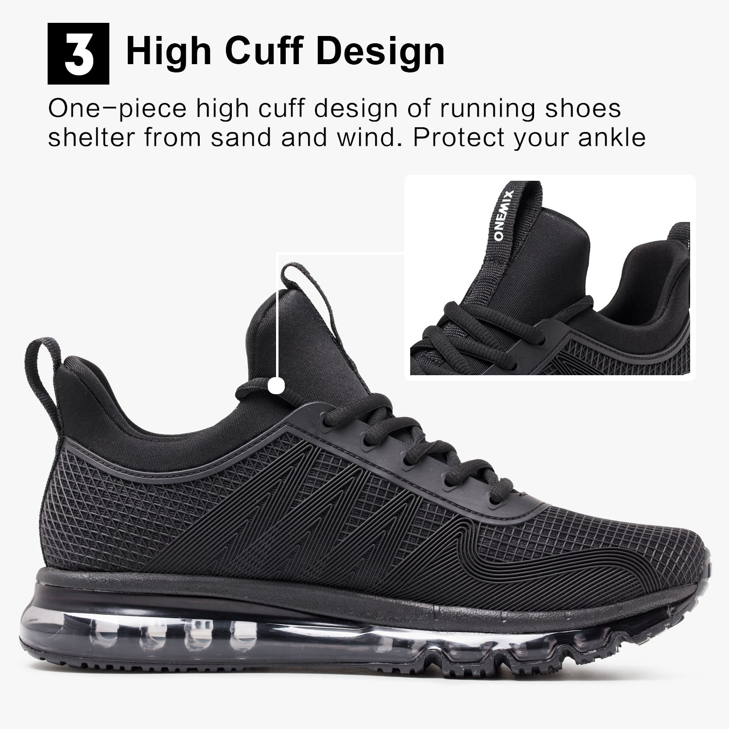 ONEMIX Running Shoes Breathable Air Cushion Sports Shoes Lightweight Outdoor Sneakers for Men and Women B07F25Z3V1 Women 5.5B(M)US=8.86inch Black