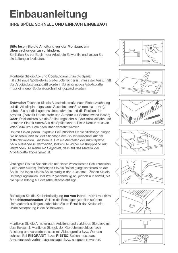 Rieber Einbauspüle E 86 K platin metallic Becken rechts Küchenspüle ...