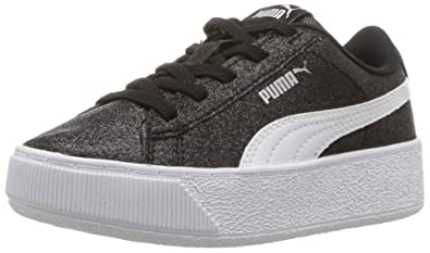 6637f34f6a PUMA Vikky Platform Glitz AC PS Sneaker, Black White Silver, 1.5 M US  Little. Roll over image to zoom in