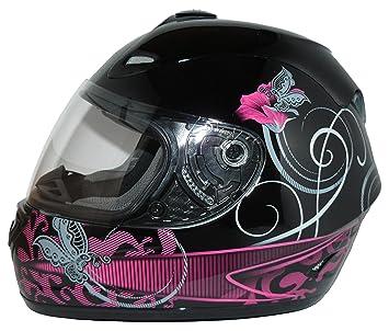 Protectwear Casco Moto, Negro/Púrpura, M