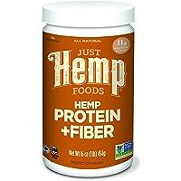 Just Hemp Foods Hemp Protein Powder Plus Fiber, 16 oz (Packaging May Vary)