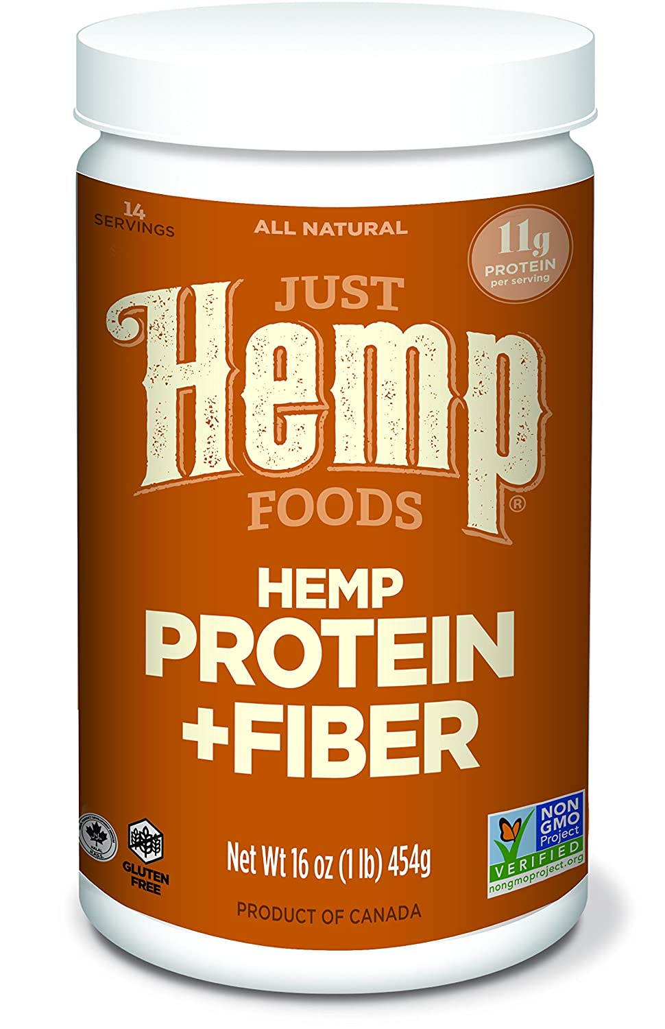 Just Hemp Foods Hemp Protein Powder Plus Fiber, 16oz; Non-GMO Verified with 11g of Protein & 11g of Fiber per Serving – Packaging May Vary