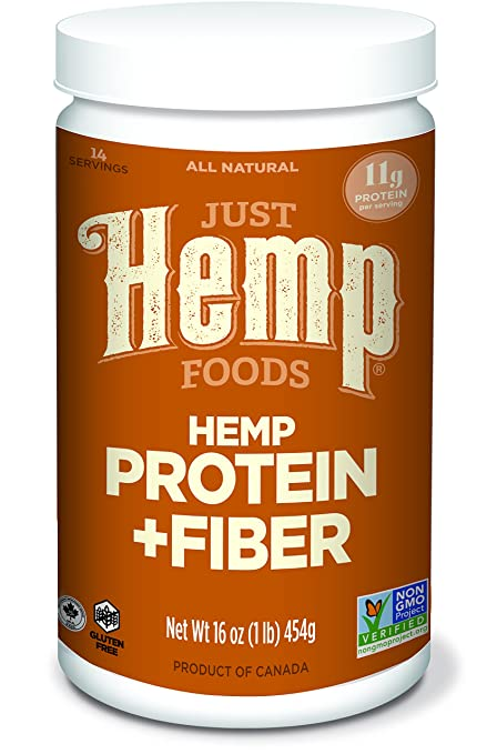 Just Hemp Foods Hemp Protein Powder Plus Fiber, 16oz; Non-GMO Verified with 11g of Protein & 13g of Fiber per Serving
