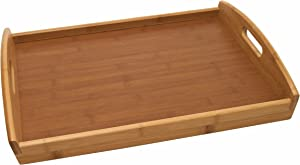 "Lipper International Bamboo Wood Serving Tray with Veneer Bottom, 18.75"" x 13.75"" x 3"""