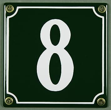 """Grüne Emaille Hausnummer /""""5/"""" 12x12 cm Hausnummernschild sofort lieferbar Schild"""