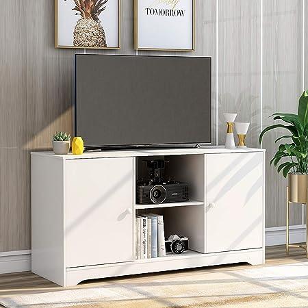Btm Simple Style Tv Unit Wood Tv Stand Cabinet Tv Table For Living Room Hallway Size 108 Cm L X39 Cm D 57 Cm H White Amazon Co Uk Kitchen Home