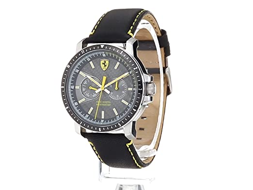 Amazon.com: Ferrari Mens Turbo Stainless Steel Quartz Watch with Leather Strap, Black, 22 (Model: 830450: Watches
