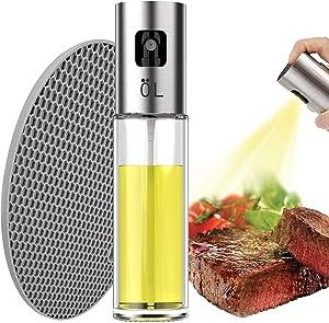 NEIJIANG Olive Oil Sprayer Dispenser Mister Versatile Glass Bottle With Food Grade Multipurpose Heat Resistant Mat for Cooking,BBQ, Salad, Baking, Roasting, Grilling,Oil Control Diet 100ml