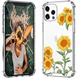 OUNNE Designed for iPhone 12 Pro Max Case Girls Women Protective 6.7inch, Floral Protective Slim TPU Bumper with Hard PC…