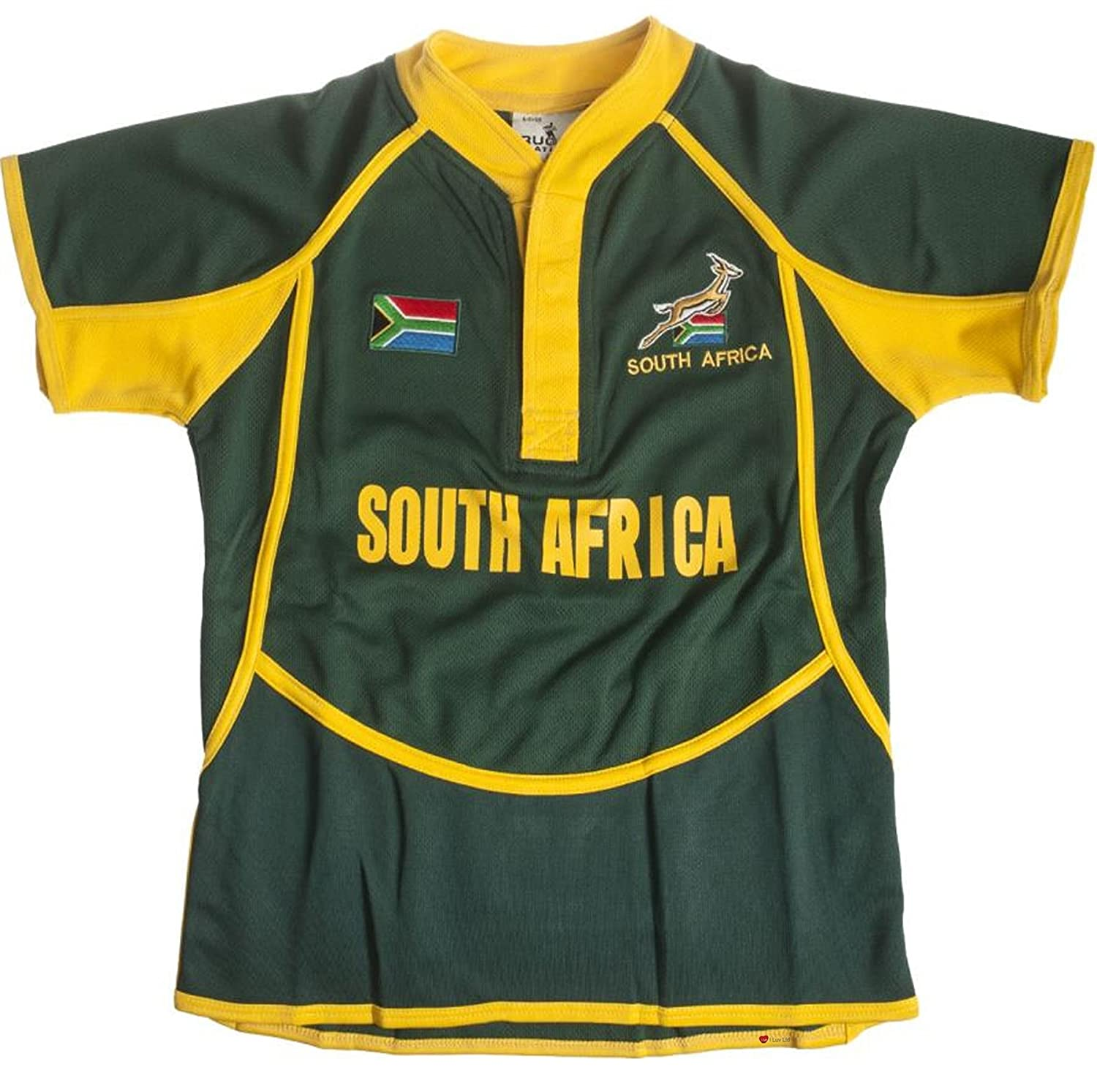 iLuv Kids Cool Dry Style Rugby Shirt in South Africa Colours Size 7-8 Years I Luv Ltd