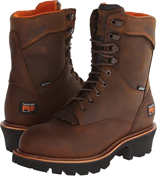 Timberland PRO Men's Rip Saw 9 inch Soft Toe WP Logger,Brown