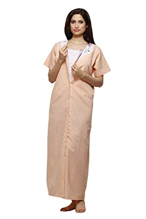 c196cee92e Vedvid Women s Cotton Button Front Check Nighty (Peach