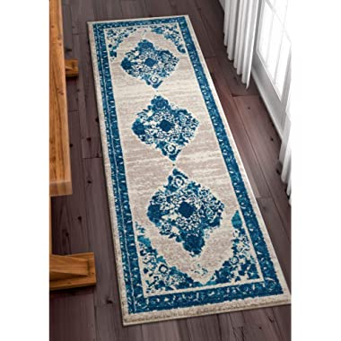 Well Woven Talya Abstract Vintage Distressed Medallion Blue Beige 2x7 (2'3  x 7'3  Runner) Area Rug