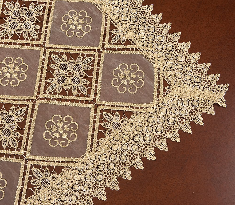 Simhomsen Oval Beige Lace Tablecloth Embroidered Linens For Dining Table Customer Order (60 x 84-inch oval) by Simhomsen (Image #3)