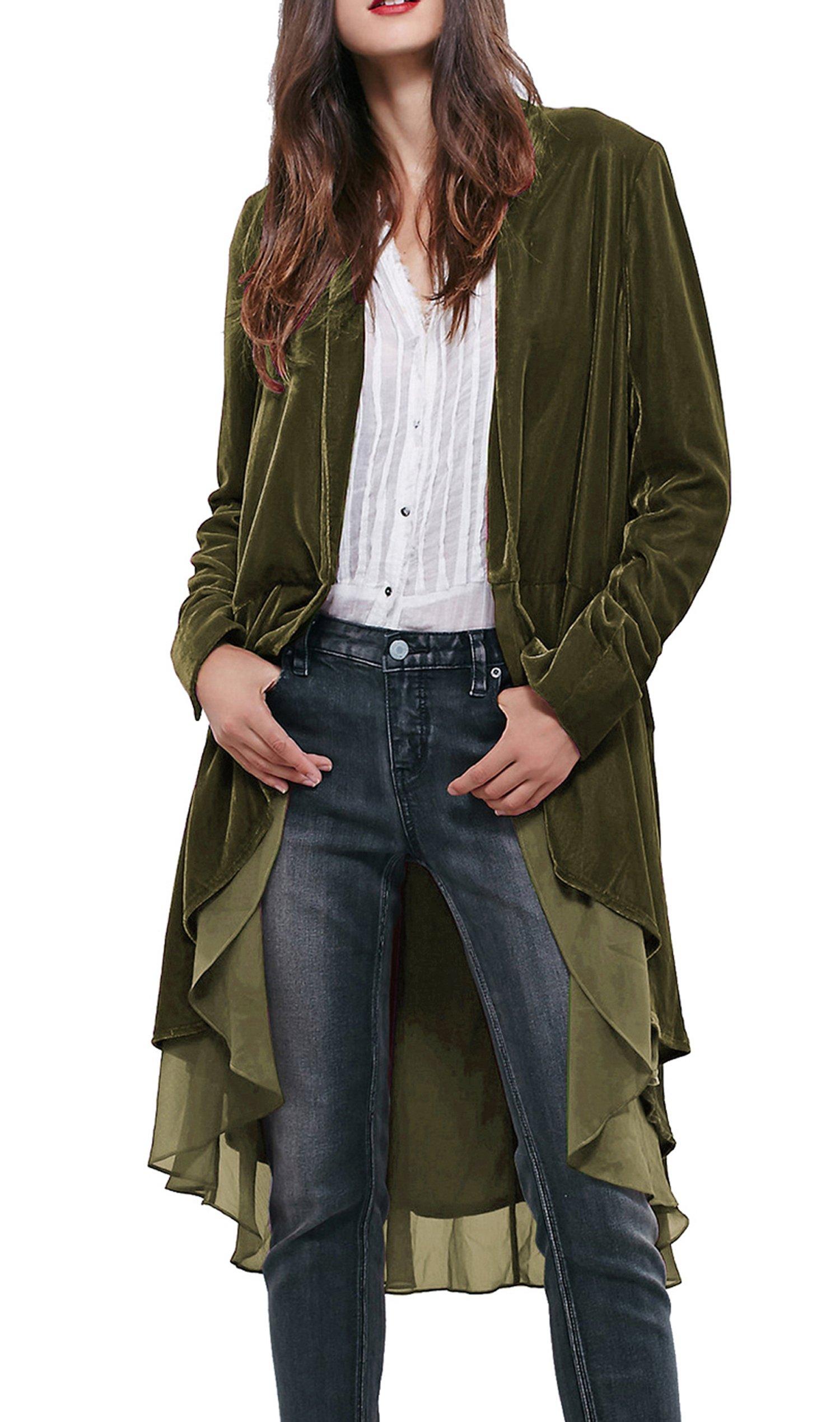 R.Vivimos Women Ruffled Asymmetric Long Velvet Blazers Coat Casual Jackets (Small, Army Green)