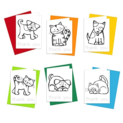Amazon coloring cards cats and dogs thank you cards coloring cards cats and dogs thank you cards stationery set greeting cards for kids m4hsunfo