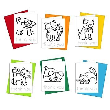 Tarjetas de agradecimiento - gatos y perros notas de agradecimiento ...