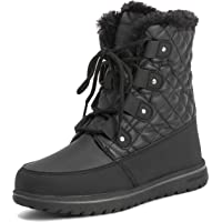 Polar Products Womens Quilted Short Faux Fur Snow Waterproof Winter Durable Side Zipper Sneaker Boots