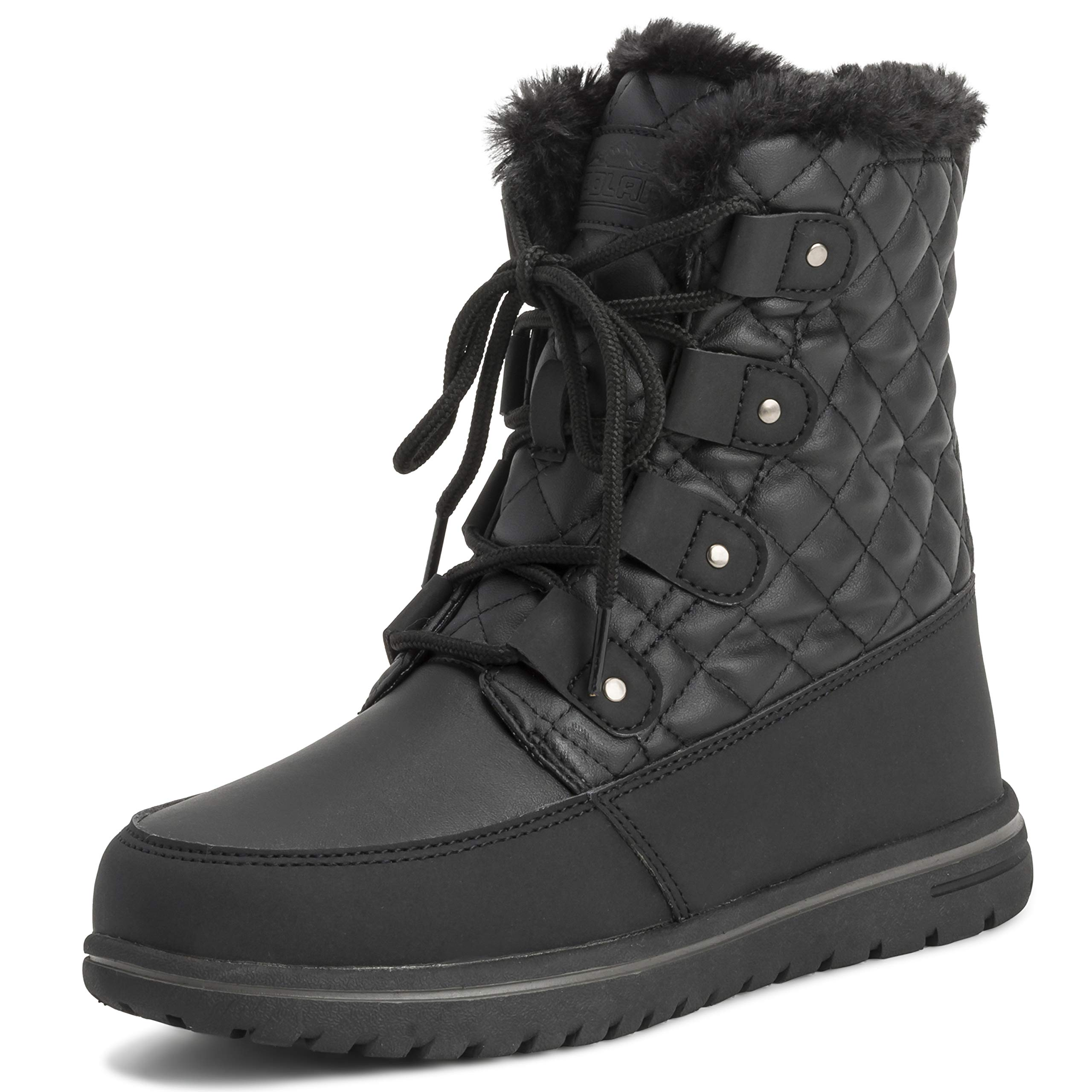 Polar Womens Quilted Short Faux Fur Snow Waterproof Winter Durable Warm Boots - 9 - BLK40 AYC0523