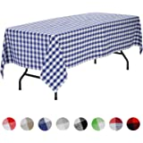 VEEYOO Rectangular Plaid Check Tablecloth Gingham 100% Cotton for Home Kitchen Party Indoor or Outdoor Use 60 x 102 inch (Seats 8 to 10 People), Navy & White