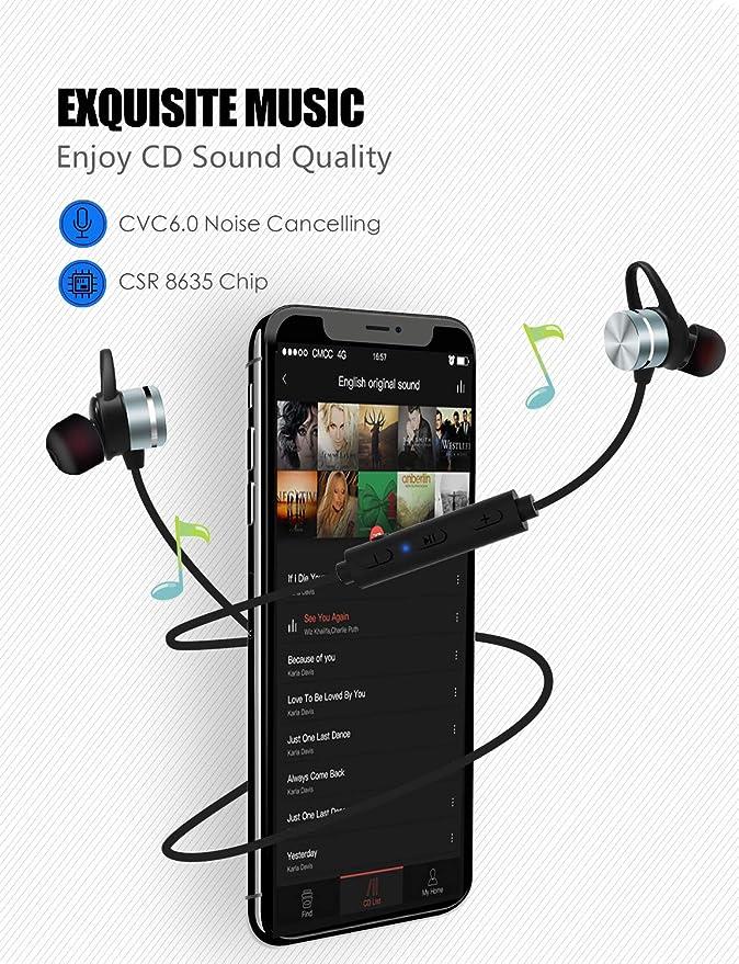 Amazon.com: Auriculares Bluetooth deportivos, estéreo ...