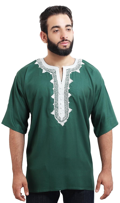 Moroccan Men Tunic Caftan Breathable Fiber Cotton Handmade Embroidery Ethnic Green Treasures Of Morocco Marrakchi green shirt