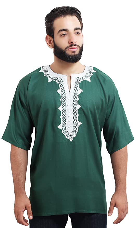 5813576ac49d Amazon.com: Moroccan Men Tunic Caftan Breathable Fiber Cotton Handmade  Embroidery Ethnic Green: Everything Else