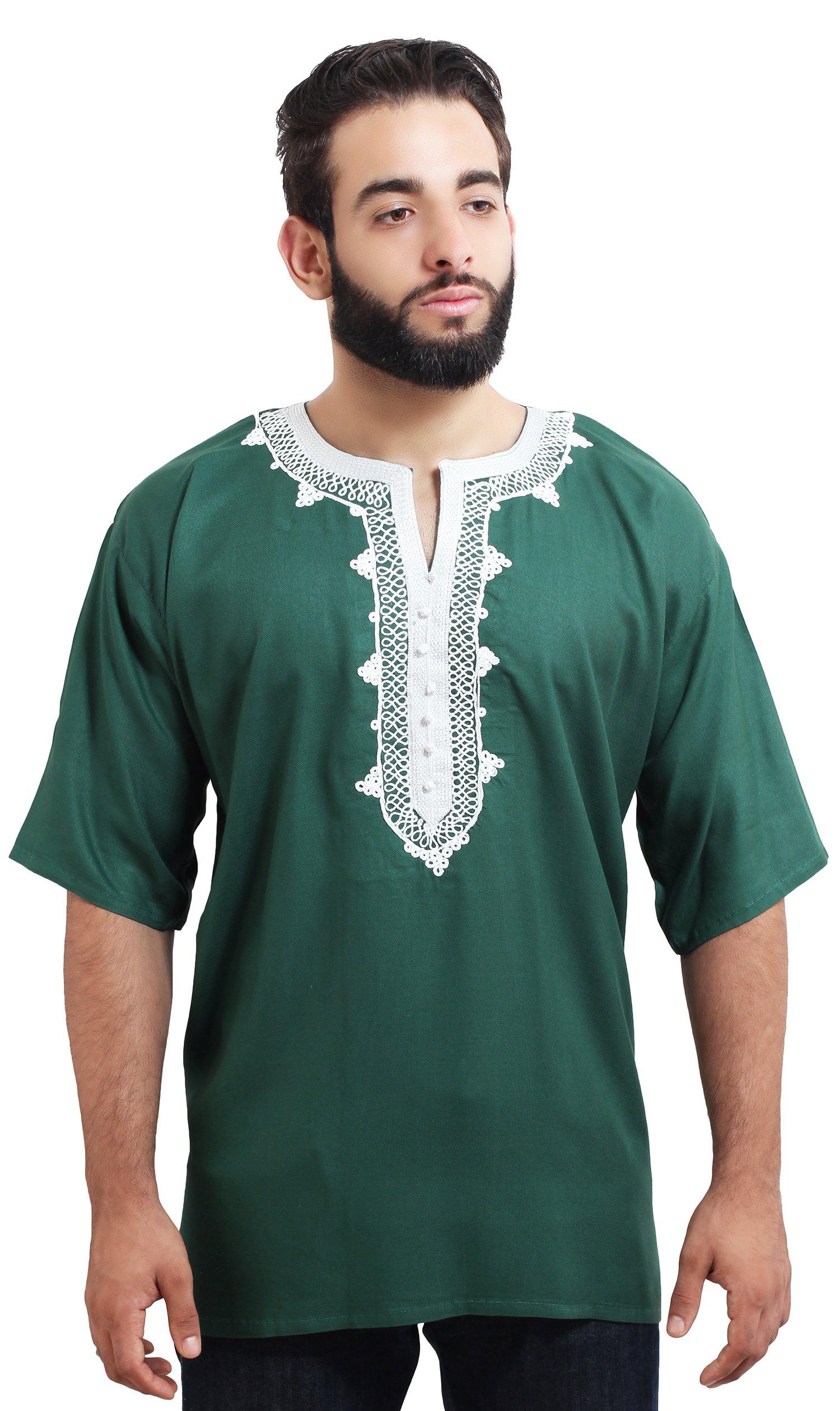 Moroccan Men Tunic Caftan Breathable Fiber Cotton Handmade Embroidery Ethnic Green