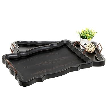 Set of 2 Rustic Black Brown European Vintage Style Wood Serving Trays / Platters with Metal Handles