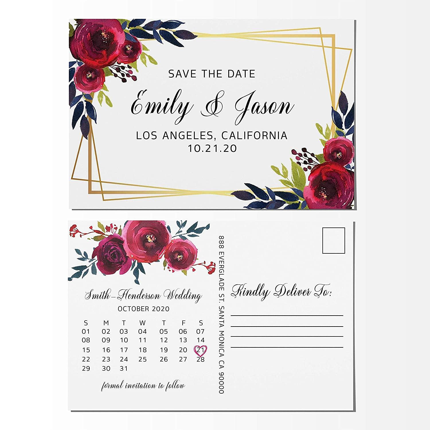 Amazon com: Floral Frame Save the Date Postcards, Calendar