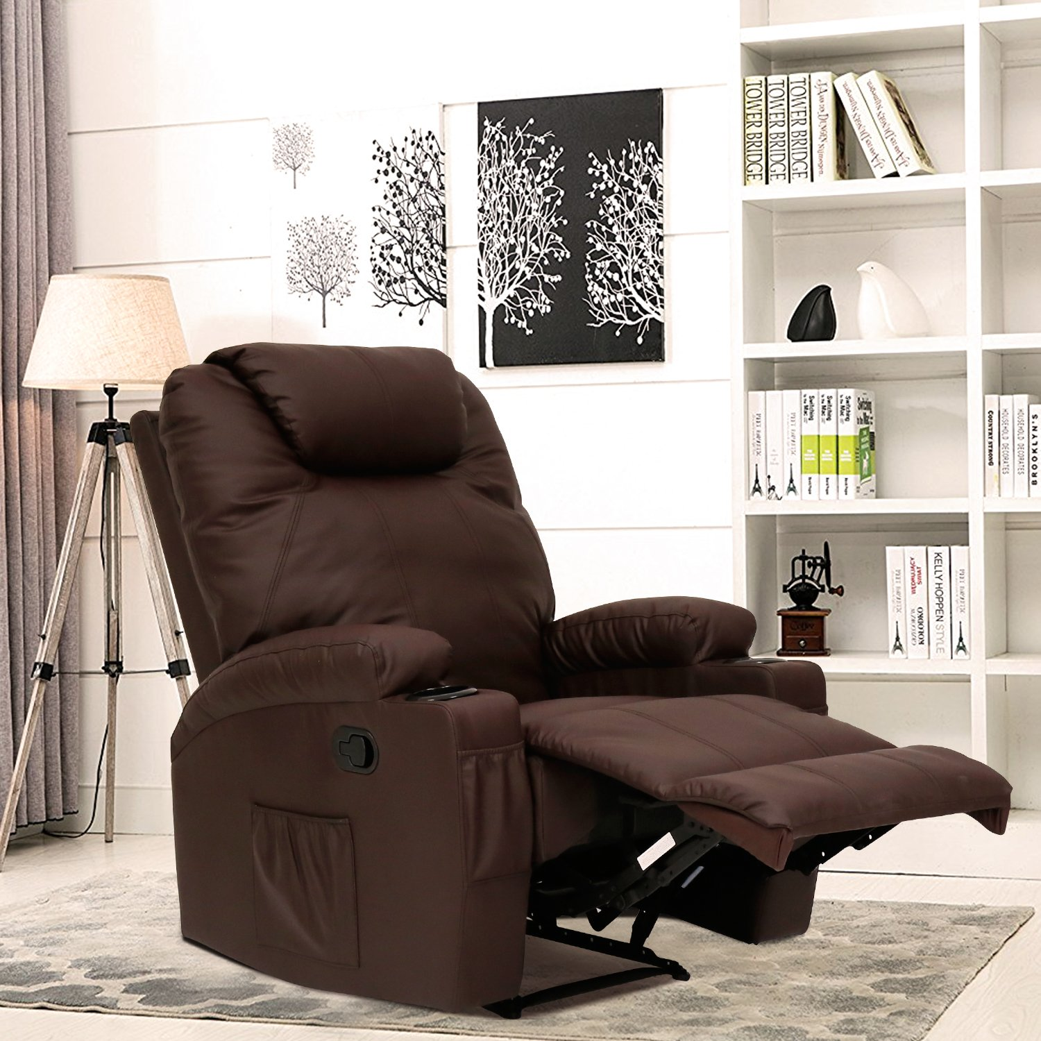 Kinbor Massage Recliner Leather Sofa Chair Ergonomic Lounge Swivel Heated with Control and Cup Holder (brown)