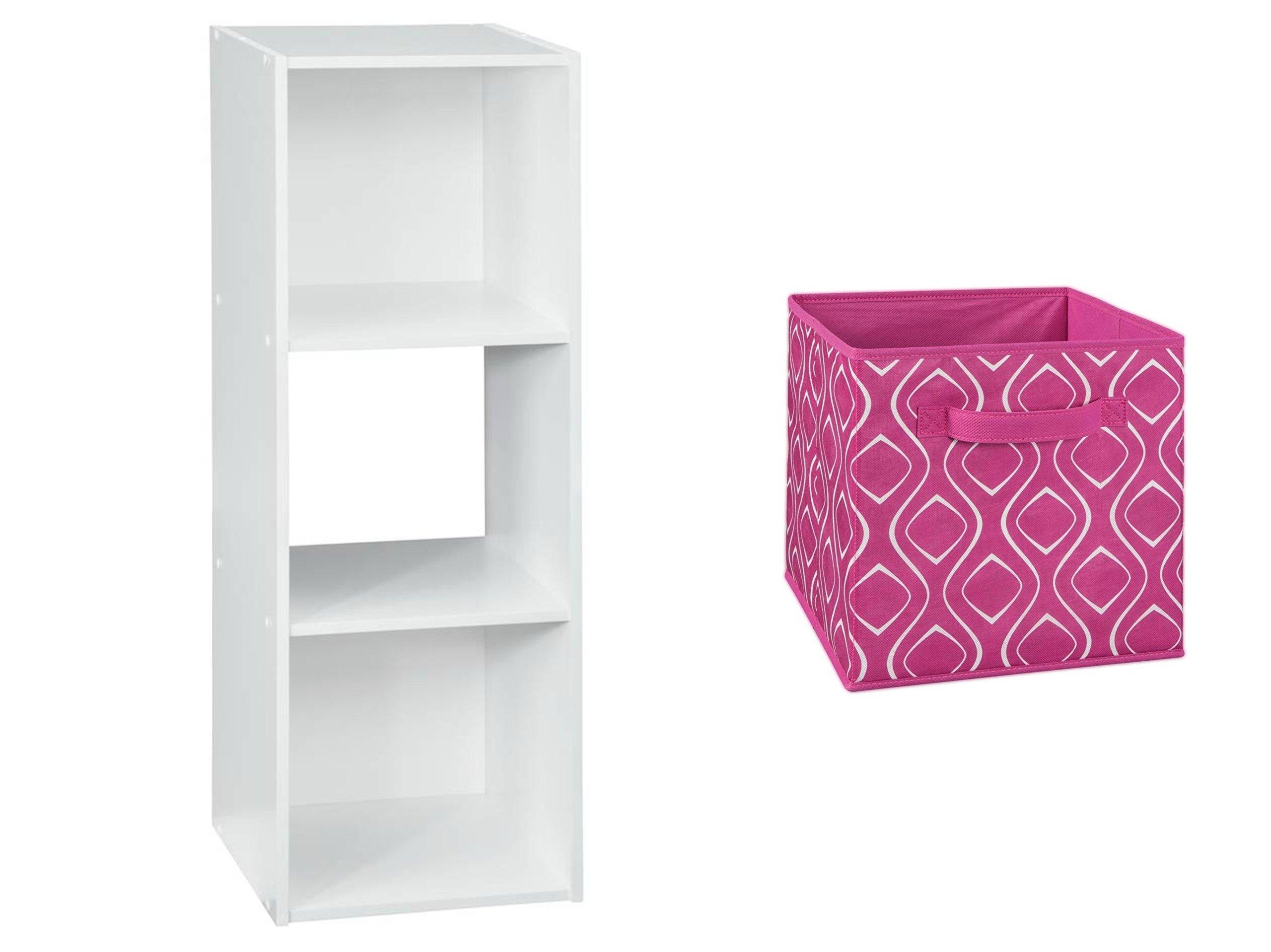 ClosetMaid 3-Cube Organizer in White and ClosetMaid Fabric Drawer in Fuschia