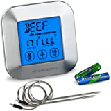 KitchenBros Digital Food Thermometer Instant Read For Cooking Meat BBQ Turkey And Steak Grill Oven Smoker Safe With Alarm Timer 2 Stainless Steel Probe AAA Batteries Included