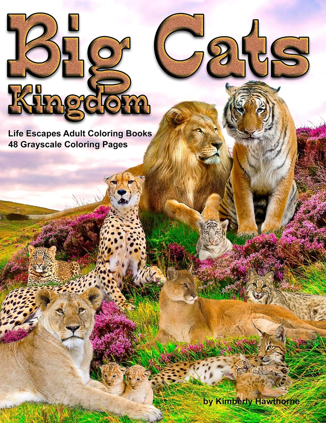 Big Cats Kingdom Life Escapes Adult Coloring Book 48 Grayscale Coloring Pages Of Big Wild Cats Like Lions Tigers Cougars Leopards Cheetahs And Endangered Cats Like The Caracal Ocelot Cat And More