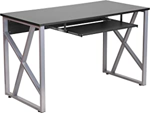 Flash Furniture Black Computer Desk with Pull-Out Keyboard Tray and Cross-Brace Frame