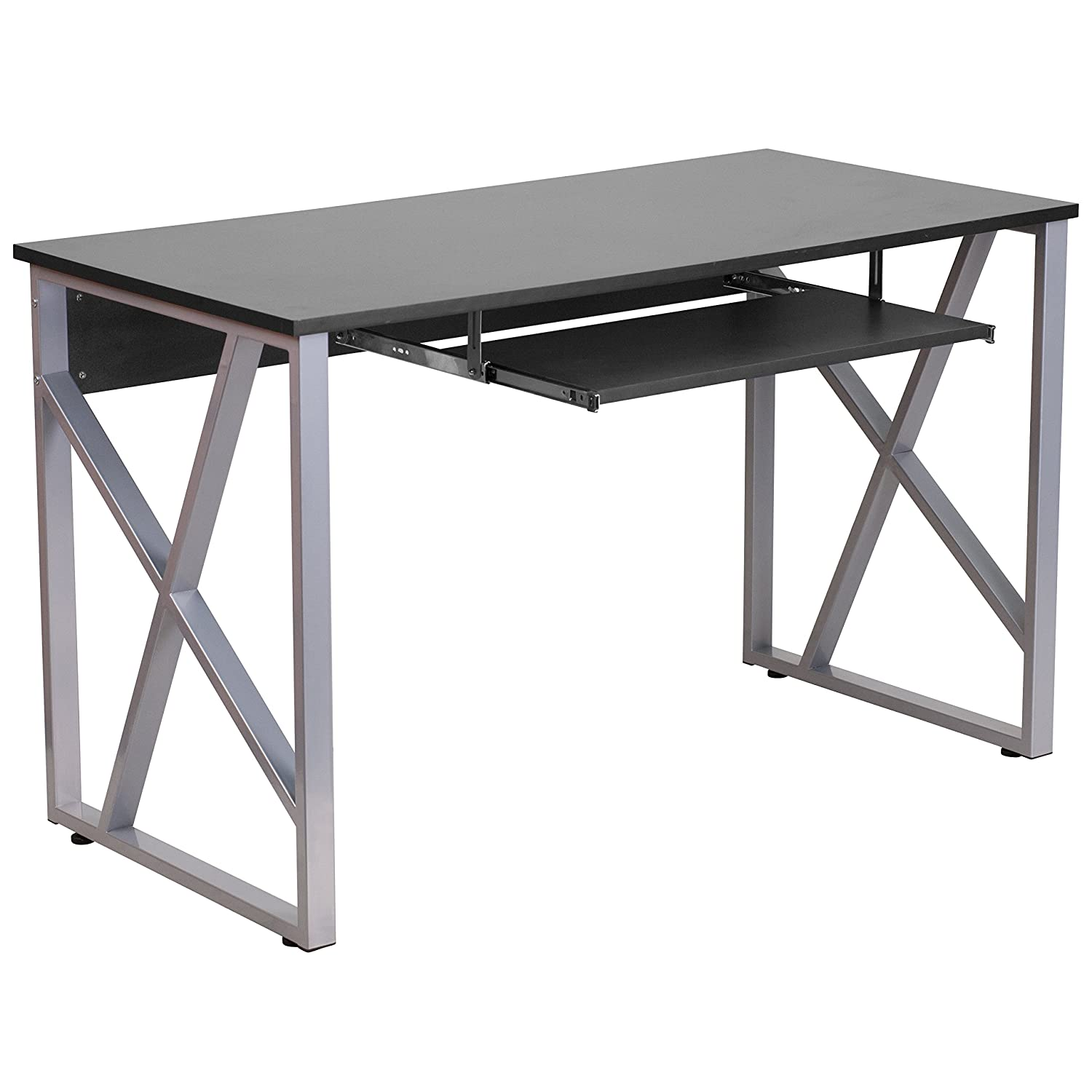Amazon.com: Flash Furniture Black Computer Desk With Pull Out Keyboard  Tray: Kitchen U0026 Dining