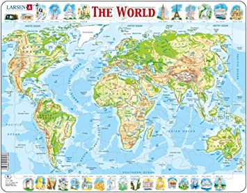 Larsen K4 El Mapa físico del Mundo, edición en Inglés, Puzzle de Marco con 80 Piezas: Amazon.es: Juguetes y juegos