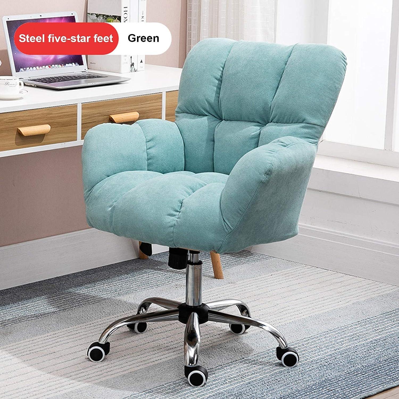 LIYIN hemmakontor stol ergonomisk skrivbordsstol svängbar datorstol fem stjärnor stål fotstativ och tyst caster (justerbar höjd) gRÖN