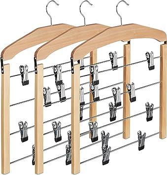 platzsparend Holz schwarz 360/° drehbarer Haken Clipb/ügel f/ür Hosen /& R/öcke Relaxdays 6 x Rockb/ügel mehrfach Hosenb/ügel