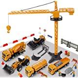Construction Vehicle Truck Toy Set - 64PCS Kids Engineering Truck Playset with Play Mat, Crane, Cement, Fuel Truck…
